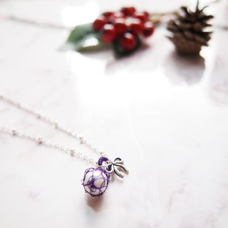 French hand-woven purple copper wire with artificial pearl and small butterfly pendant sub-necklace P046
