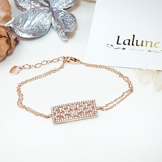 [Lalune] 925 sterling silver arbitrarily 2 rose gold window double chain bracelet