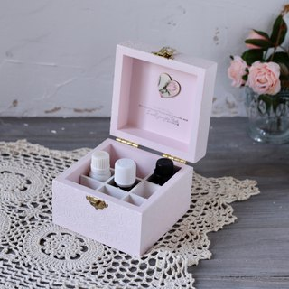 European elegant retro embossed rose essential oil wooden box dip pen ink 9 grid 10ml