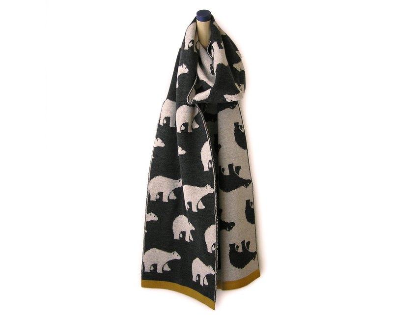 美利奴羊毛圍巾,深灰色明亮北極熊圖案