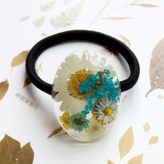 Real flower ponytail holder - pressed flower, elastic band, Pleasant notes