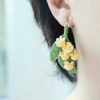 Lily of the valley earrings yellow three optional crochet rain flower pure silver ear hook can change ear clip Tanabata