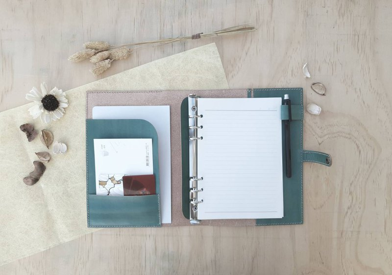 A5 button loose-leaf handbook / notebook-with pen insert / bookmark