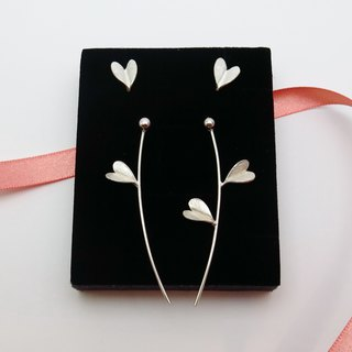 Goody Bag-Leaf of Love Silver Earrings Set of 6- Asymmetric-Front and Back Style