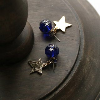 Japanese handmade jewelry - Star Star Earrings (Blue)