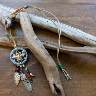Handmade Dreamcatcher necklace - Light blue denim