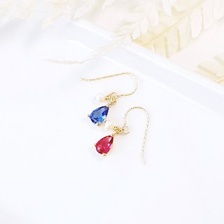 Pink red water drops zircon mini earrings asymmetrical 14K GF cute wild gift Christmas joy