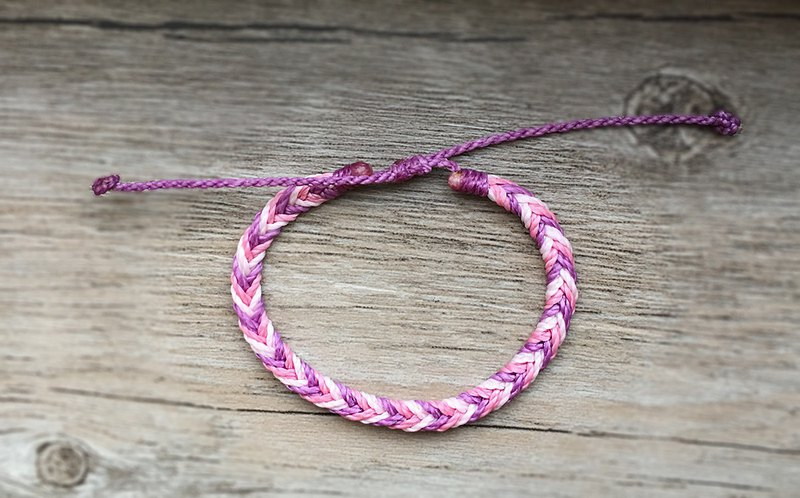 Fine version 【Small spray】 Brass silk wax braided bracelet / telescopic knot / pink purple
