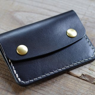 Hand stitched card case black