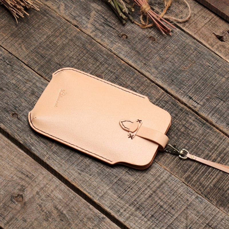 Rustic original color vegetable tanned cow leather handmade iPhone case/mobile phone case
