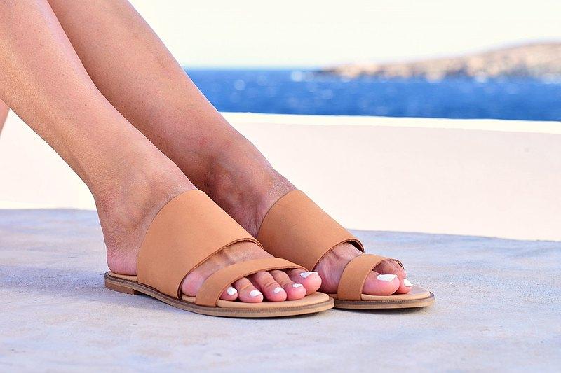 女式裸色涼鞋Nubuck真皮涼鞋,手工製作的希臘涼鞋。