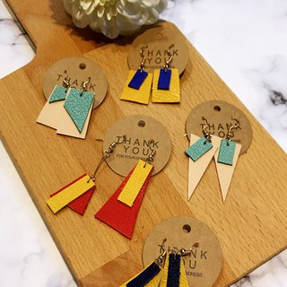 Geometric leather hook earrings