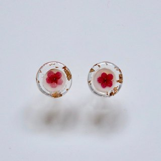 Purple and Red Pressed Flower Earrings with Gold Leaf