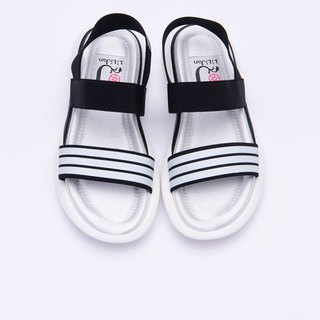 [Marshmallow girl] word elastic band elastic platform sandals _ simple black and white