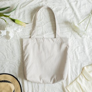 Beige Grid Cotton Tote Bag