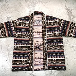 AMIN'S SHINY WORLD hand-made KIMINO thick jacquard ethnic figure rattan blouse coat coat