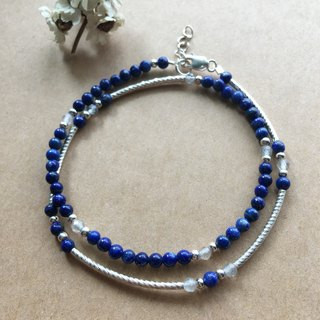 Lapis lazuli and labradorite sterling silver double tube bracelet