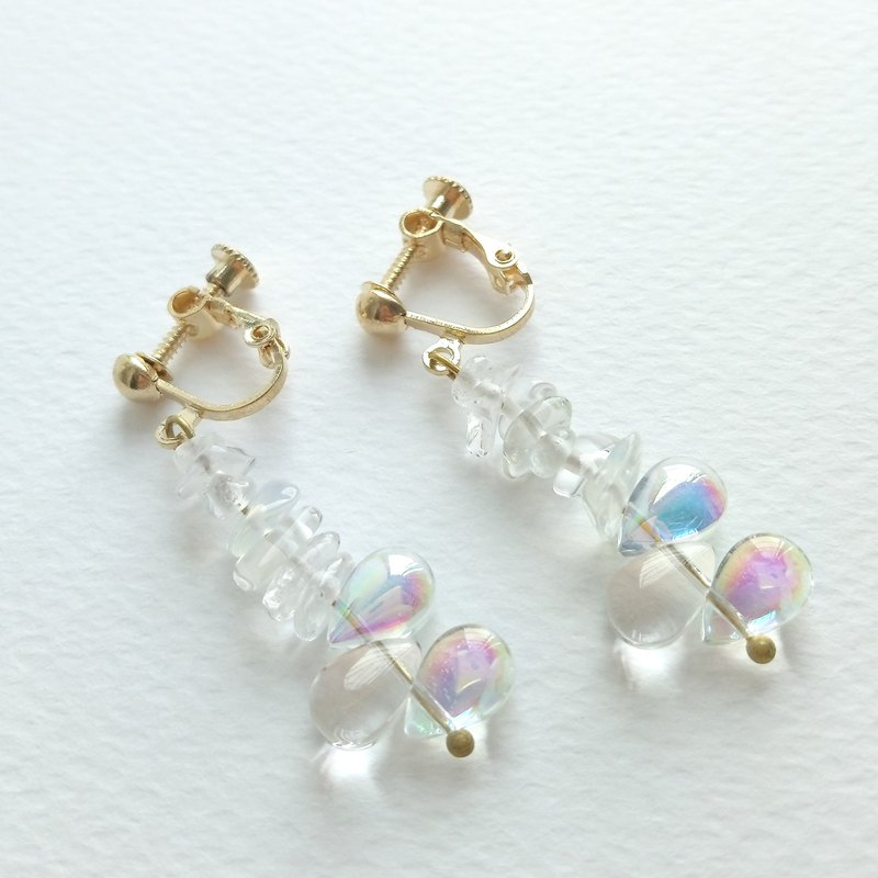 Aiyana Bubble Series Natural Opal Glass Drop Earrings - Ear/Ear clip