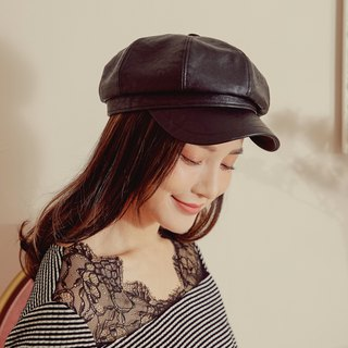 Rumie personality duck tongue lei leather cap (R6612F)