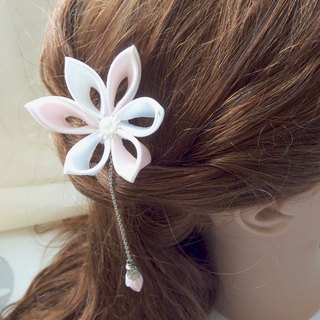 Kanzashi blue pink ribbon flower hair pin hair accessories(つまみ細工)