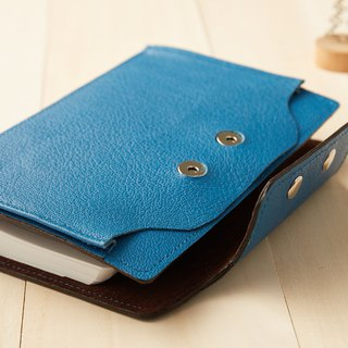 Pouch series: sky blue leather 6-hole A5 loose-leaf pencil case notebook