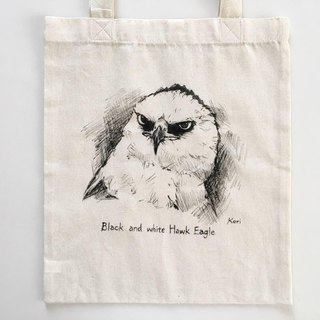 Pure hand-painted bird cotton shopping bag ‧ black and white eagle eagle