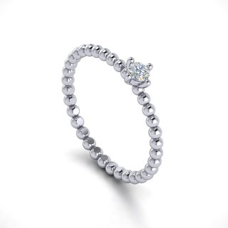 【PurpleMay Jewellery】18k White Gold Single Diamond Dot Ring Band R003