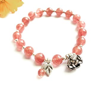 Ops Strawberry Crystal Garnet Gemstones silver bracelet