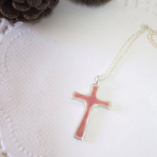 Fashion silver enamel cross pendant necklace female models sided wear Valentine's Day gift
