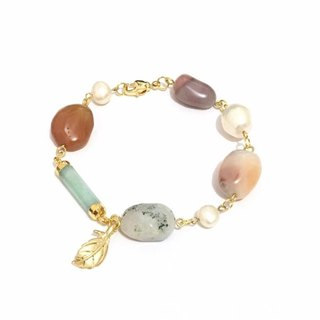 Fancy Agate with Pearl Bracelet