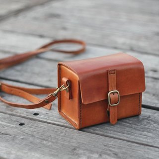 Custom order for Fu Kuo - Classy Hand Stitched Tan caramel Leather Camera Case