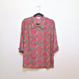 / Lin Fei dream / fluorescent retro neon chiffon seven sleeve shirt