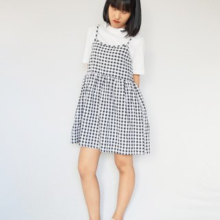 Gingham strappy cami smock dress