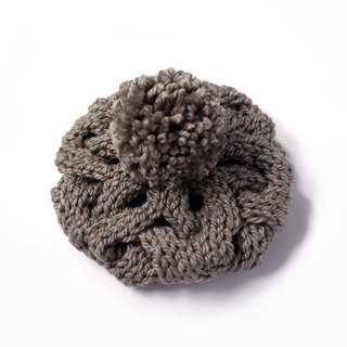 Thick needle twist detachable ball knitted wool beret - fog brown