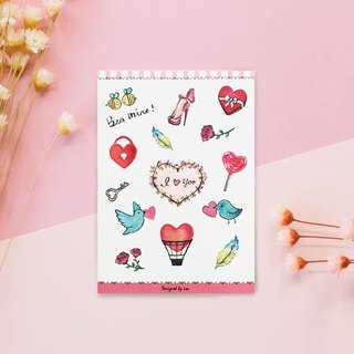 Colorful lover and paper stickers