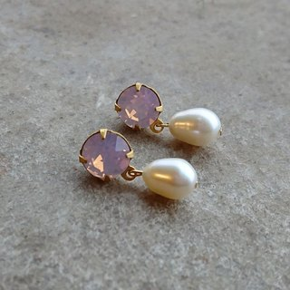 Rose Water Glass Pearl Earrings