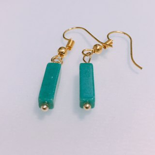 Rectangular column fake lake earrings