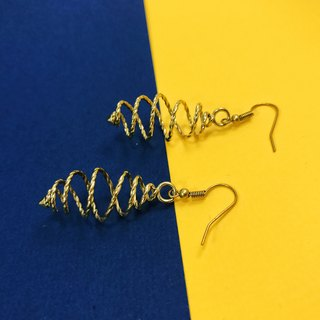 Sweet Series - Delicate Whirlwind Tornado Brass Earrings