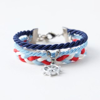 Ship wheel layered rope bracelet in navy blue / sky blue / red / white