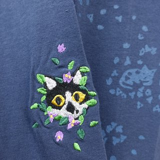 Flower cat inner pants dark blue