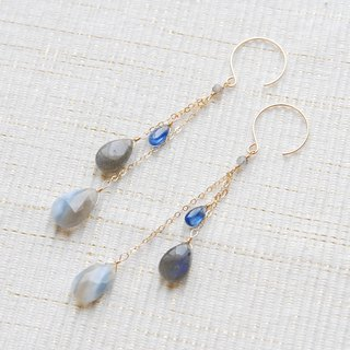 Three blue stone chain earrings 14 kgf