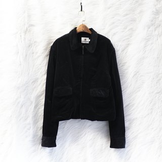 Toyama black classic corduroy fallen girl antique paved cotton cotton zipper jacket