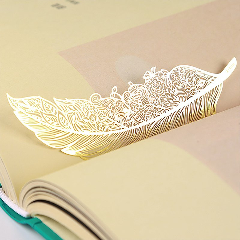 ZISUU original feather metal copper veins exquisite and beautiful art bookmark dream teacher's day gift