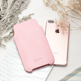 Minimal brush wax pink dip dyeing yak leather handmade iPhone case / bare metal