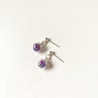 *Haku‧Neko*elegant pale purple mixed gel beads wave beads mini glass ball Ear / Earrings