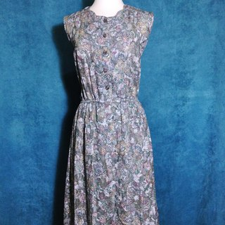 When vintage [antique dress / gloss gray textured flowers antique dress] abroad back sleeveless dress VINTAGE