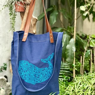 52Hz Whale Bag with Leather Handle