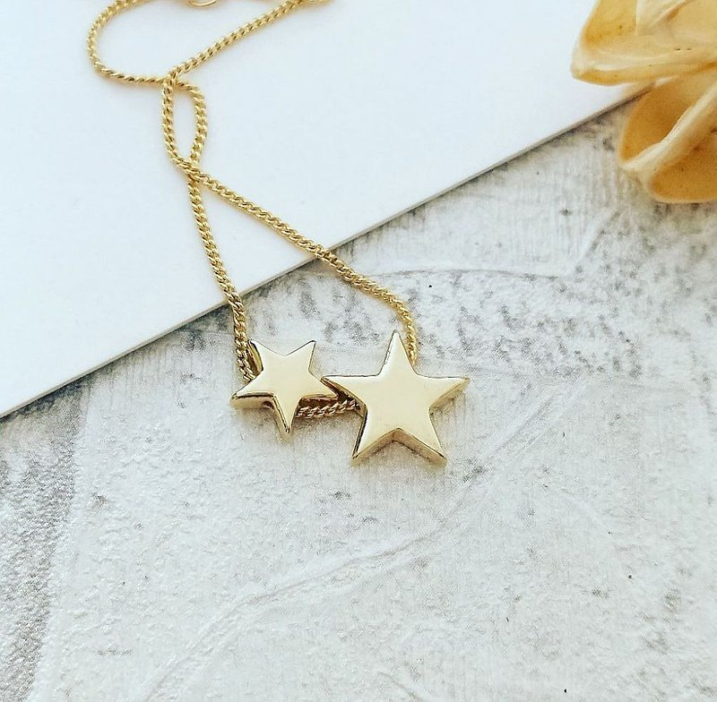 DoriAN Classic Gemini Stars 925 Sterling Silver 18K Gold Necklace Gift Wrapped with Sterling Silver Guarantee Card