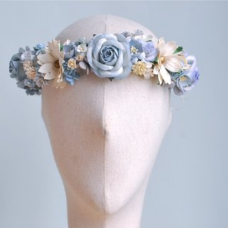 Paper Flower, Crown, Headband, Wedding, ivory, wooden blue, cream and white with golden pollen Color. ONE PIECE ONLY
