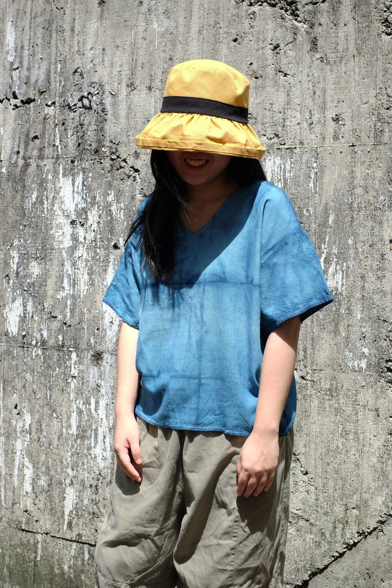 Blue dyed Japanese short-sleeve V-neck shirt blue plaid handmade custom-made shirt